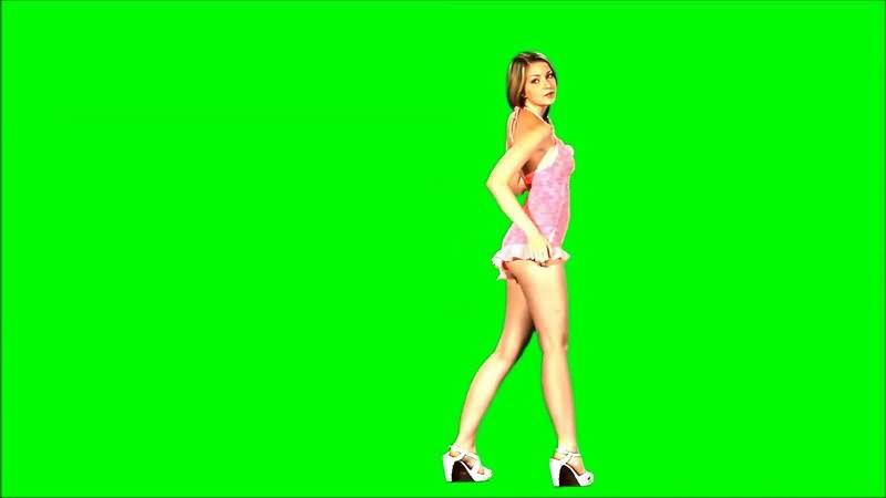 绿屏抠像粉色短裙跳舞的美女.jpg