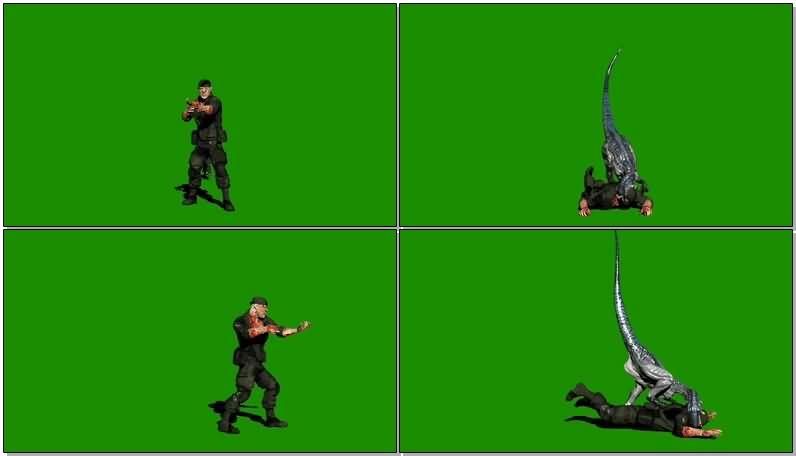 绿屏抠像被恐龙吃掉的军人狩猎人.jpg