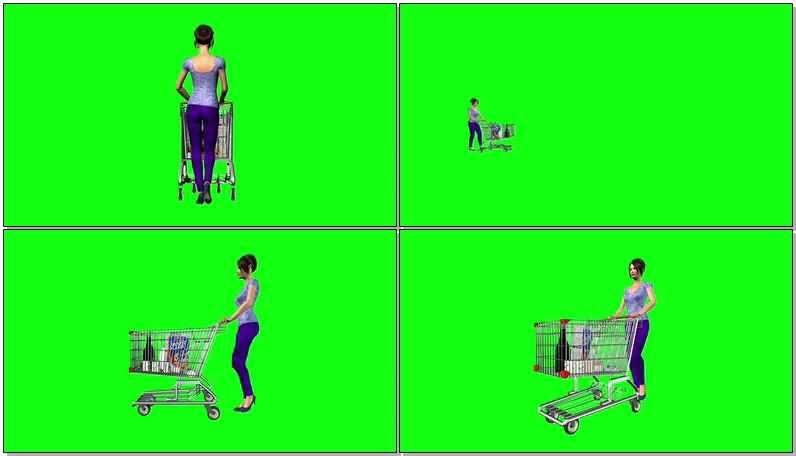 绿屏抠像推超市购物车的卡通女子.jpg