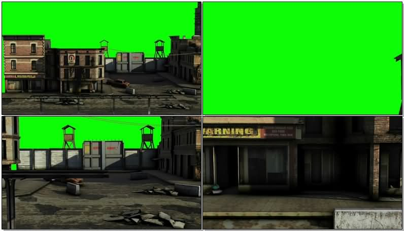 绿屏抠像废弃的城市小镇视频素材