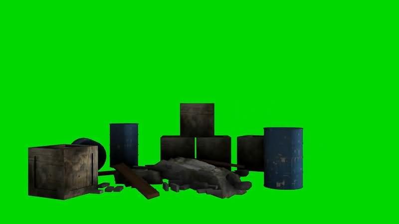 绿屏抠像废弃的木箱铁桶.jpg