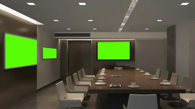 [4K]绿屏抠像会议室大屏幕视频素材
