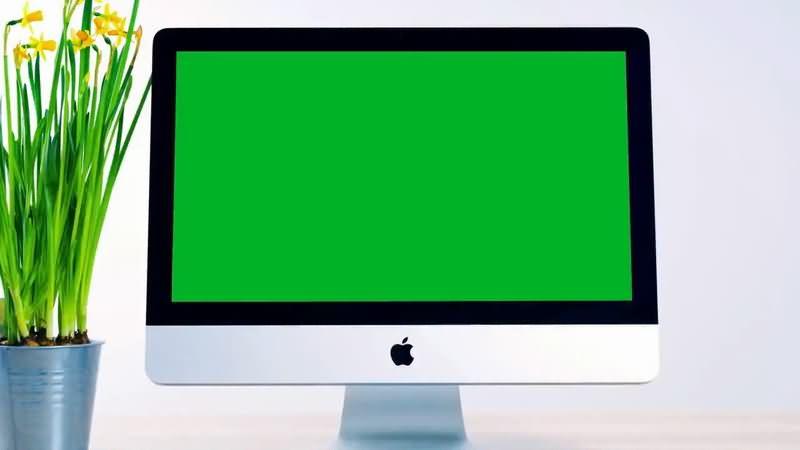 绿屏抠像苹果电脑液晶显示屏视频素材