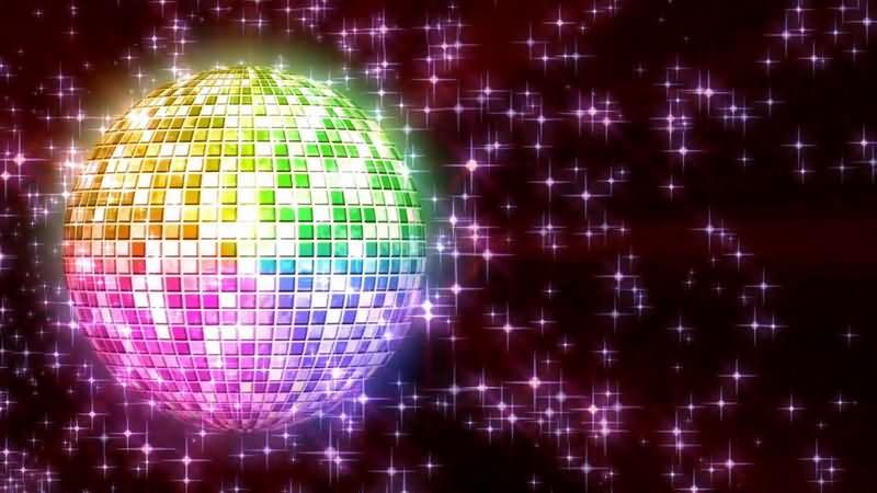 旋转的迪斯科球和闪光的星星视频素材