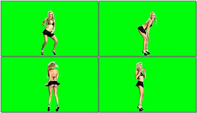 绿屏抠像黑色比基尼热舞美女视频素材