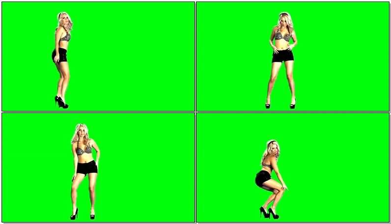 绿屏抠像豹纹比基尼美女跳舞视频素材
