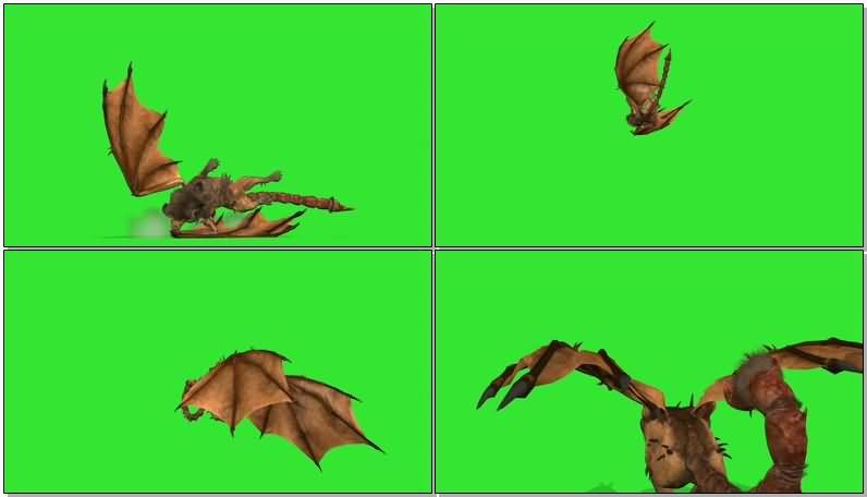 绿屏抠像狮身蝎尾带翅膀的怪兽.jpg