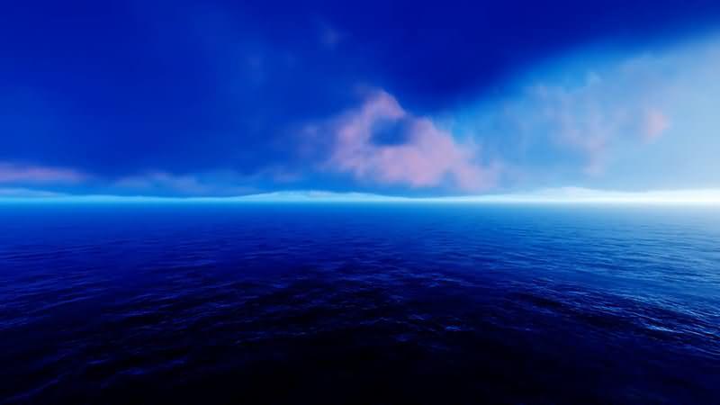 [2K]蓝色的云层和大海视频素材