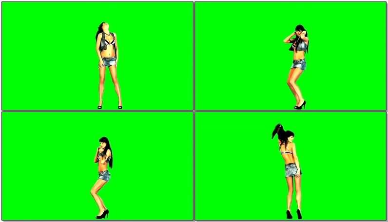 绿屏抠像跳舞的牛仔裙美女视频素材