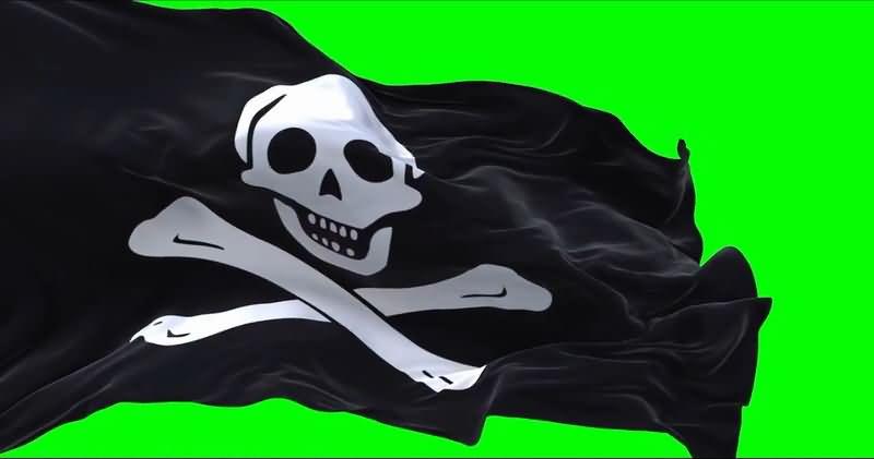 绿屏抠像飘扬的黑色骷髅海盗旗..jpg