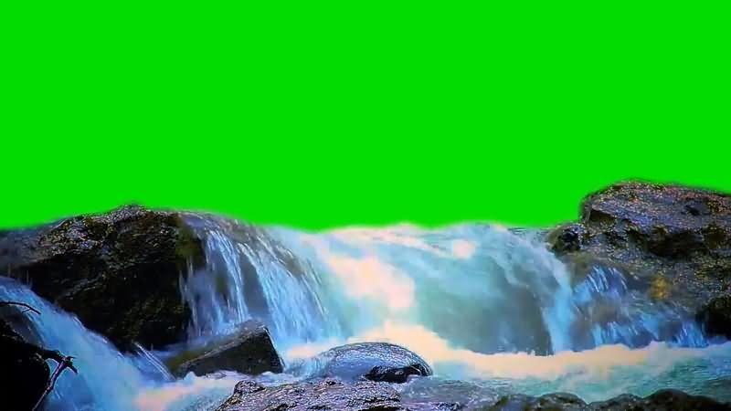 绿屏抠像小溪瀑布视频素材