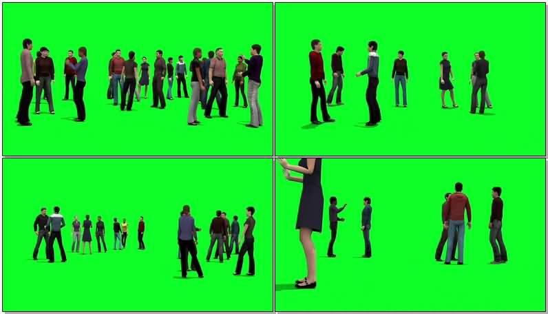 绿屏抠像交谈中的人群视频素材