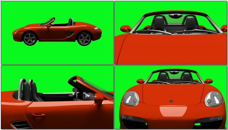 绿屏抠像红色的保时捷汽车.jpg