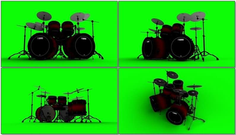 绿屏抠像架子鼓乐器视频素材