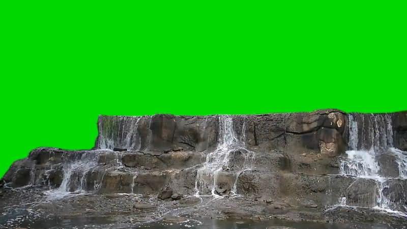 绿屏抠像流水的溪水台阶.jpg