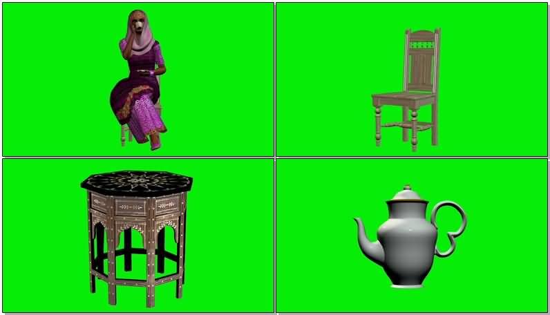 绿屏抠像喝茶的印度女人.jpg