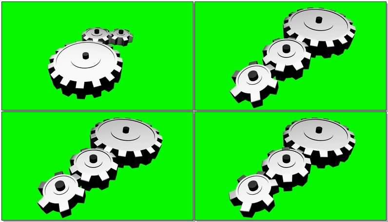 绿屏抠像旋转的齿轮视频素材