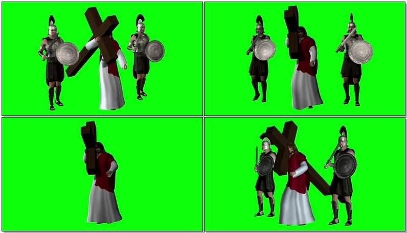 绿屏抠像扛十字架的耶稣视频素材