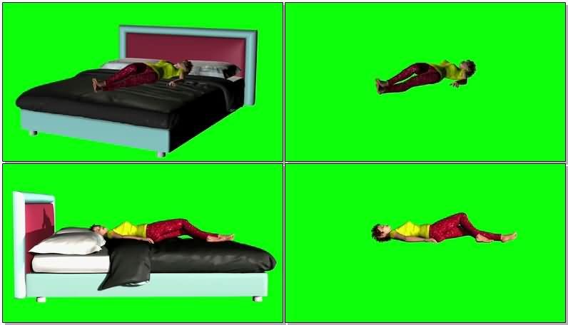 绿屏抠像床上睡觉的女人视频素材