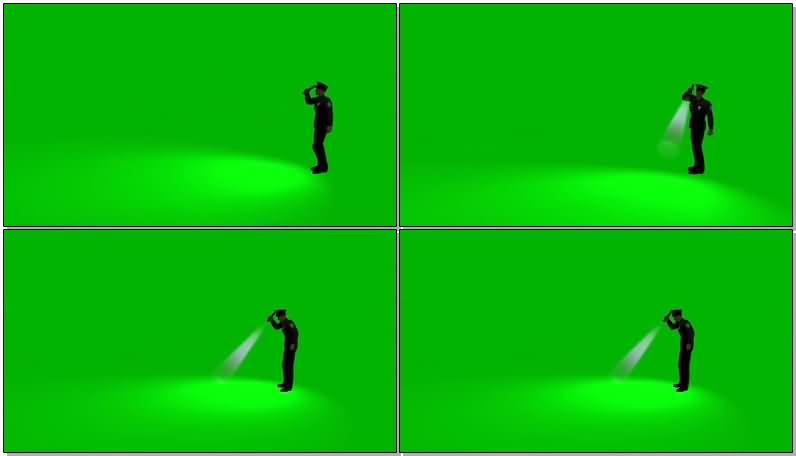 绿屏抠拿手电筒巡视的警察.jpg