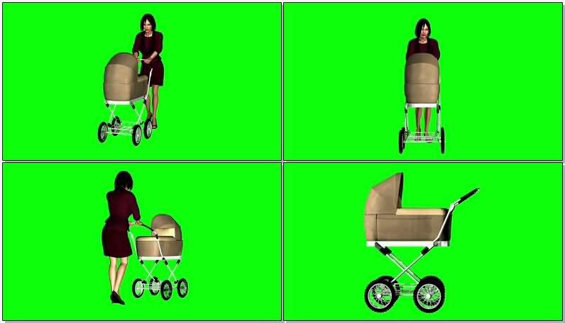 绿屏抠像推婴儿车的女子视频素材