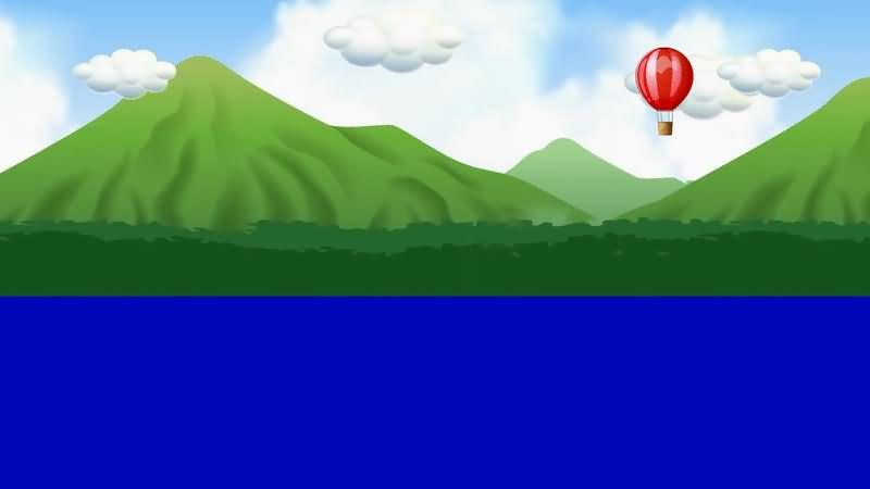 蓝屏抠像卡通白云山川热气球.jpg
