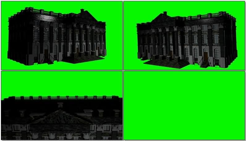 绿屏抠像庄园住宅楼建筑视频素材