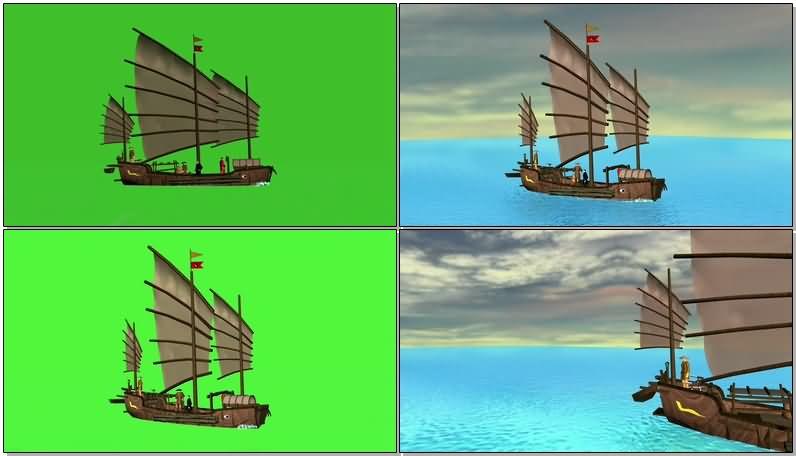 绿屏抠像古老的中国帆船.jpg