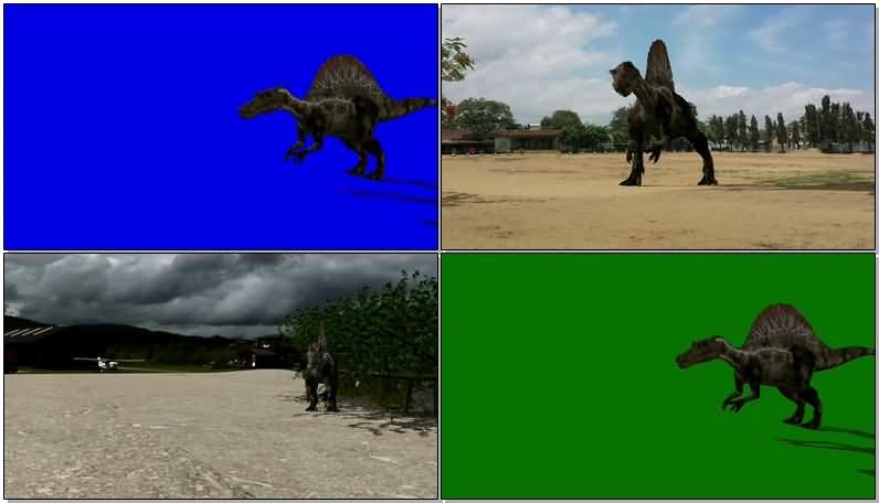 绿屏抠像侏罗纪棘龙恐龙视频素材