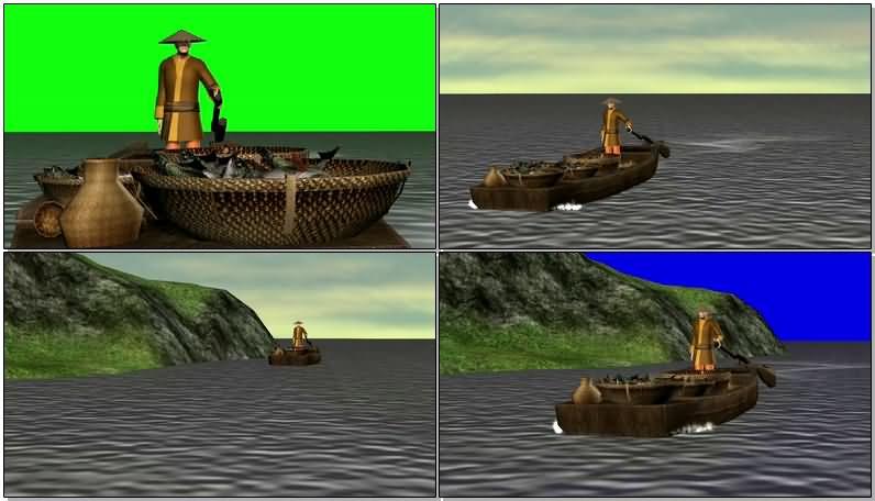 绿屏抠像开渔船的渔民视频素材