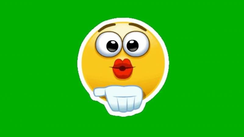 绿屏抠像卡通笑脸飞吻表情.jpg