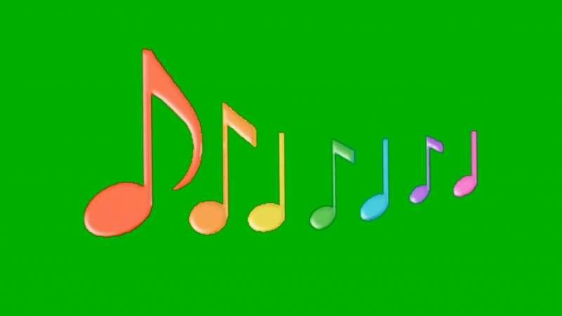 绿屏抠像跳动的七彩音符视频素材