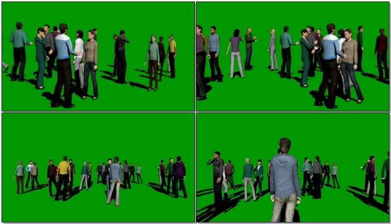 绿屏抠像谈话聊天的人群视频素材