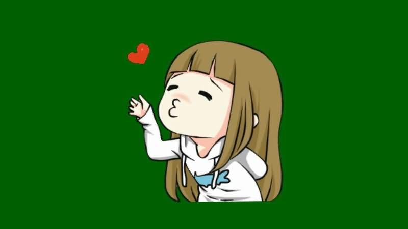 绿屏抠你飞吻的卡通女孩.jpg