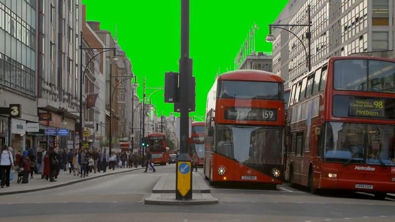 绿屏抠像伦敦街道车辆人群视频素材