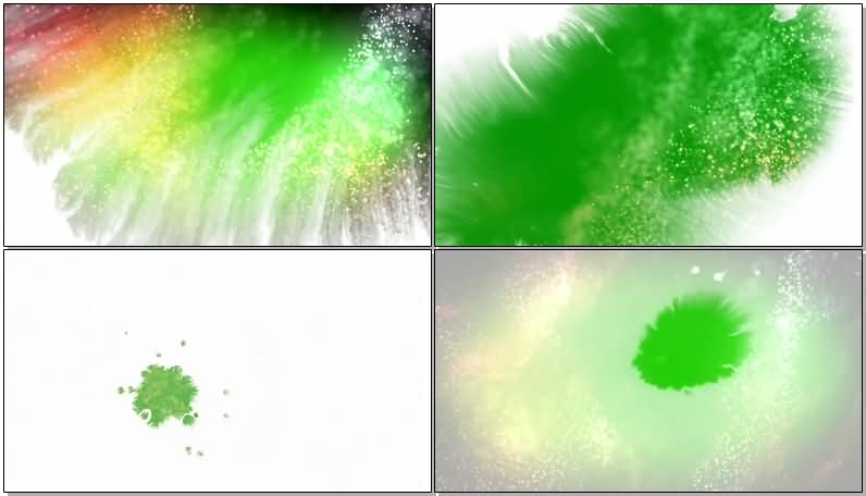 绿屏抠像彩色水墨粒子视频素材