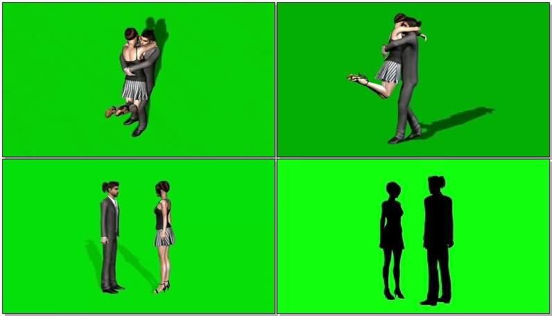 绿屏抠像欢呼拥抱的男女情侣.jpg
