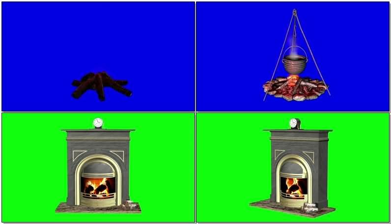 绿屏抠像燃烧的火堆壁炉.jpg