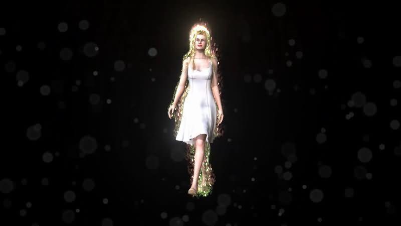 行走的白衣仙女视频素材