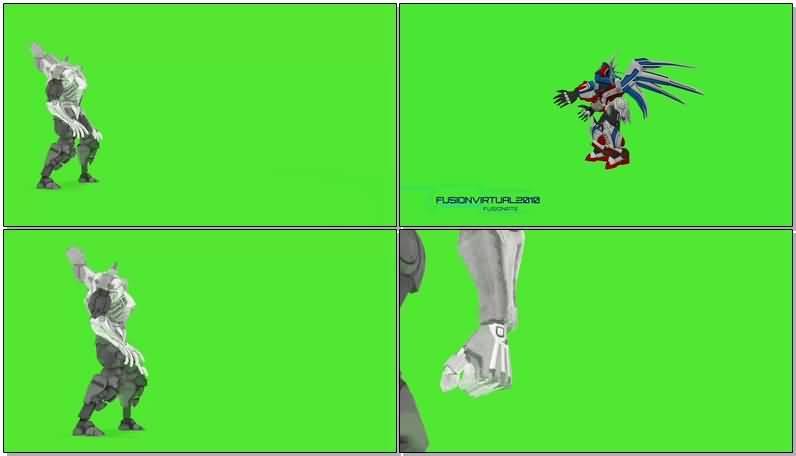 绿屏抠像战斗的机器人视频素材