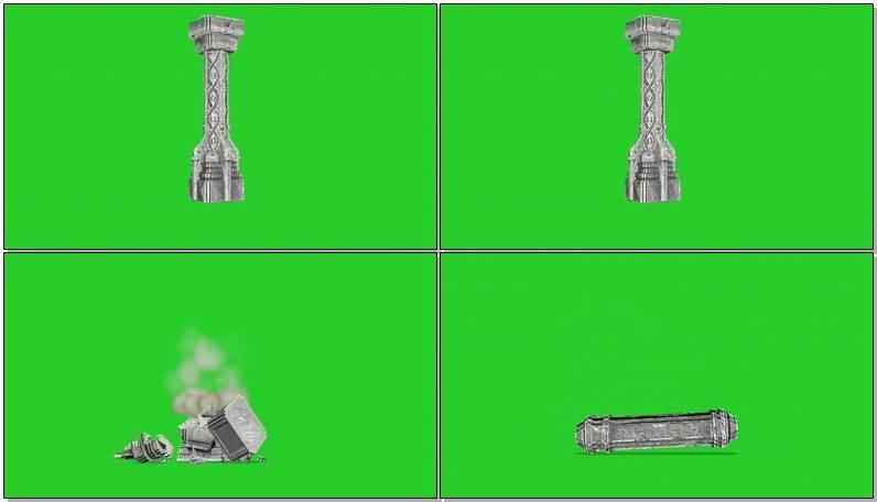 绿屏抠像倒塌的石碑建筑.jpg
