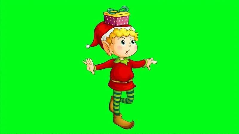 [4K]绿屏抠像卡通圣诞小丑视频素材
