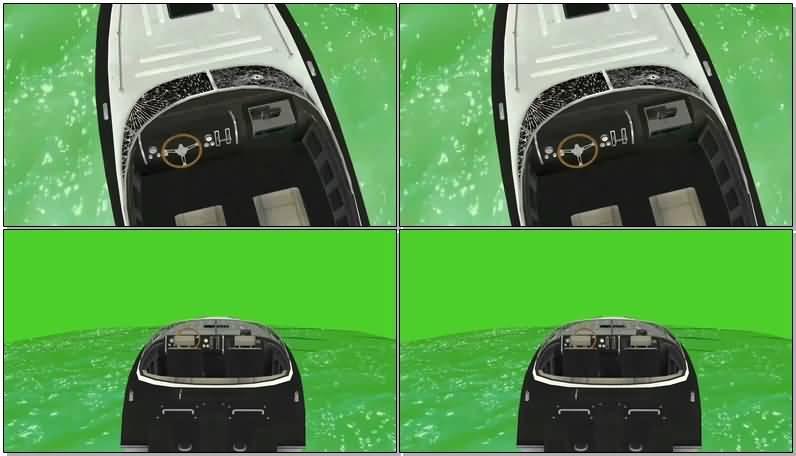 绿屏抠像开动的快艇视频素材