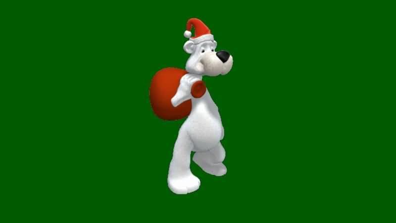 绿屏抠像送圣诞礼物的卡通熊狗视频素材