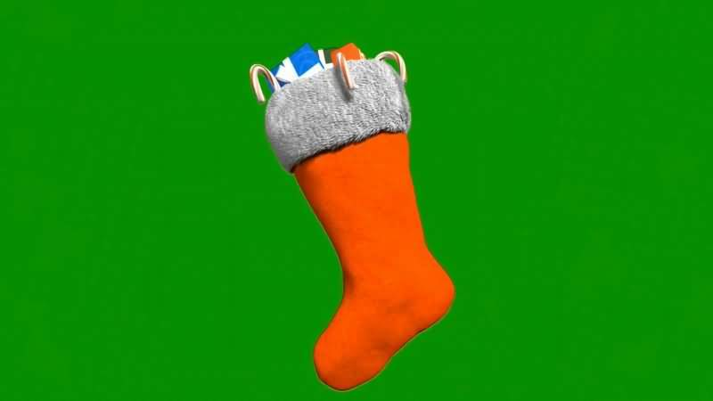 绿屏抠像装着礼物的红色圣诞袜子视频素材