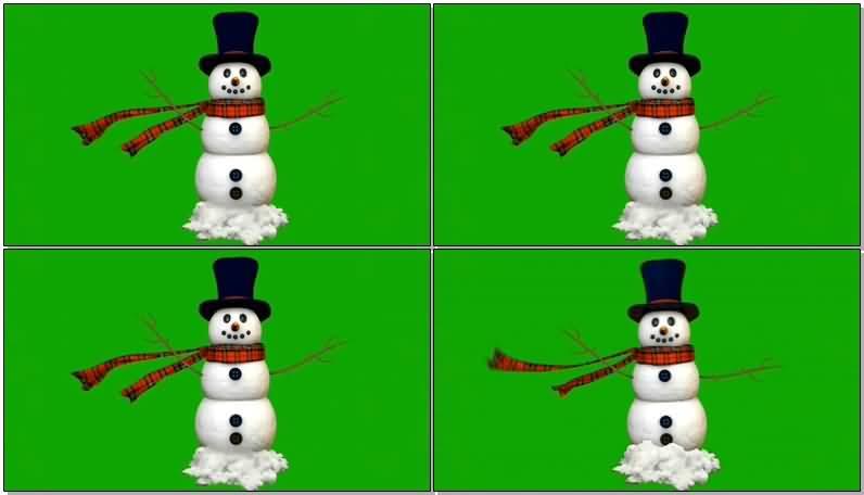 绿屏抠像带围巾的雪人视频素材