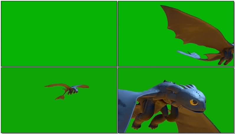 绿屏抠像卡通小飞龙视频素材