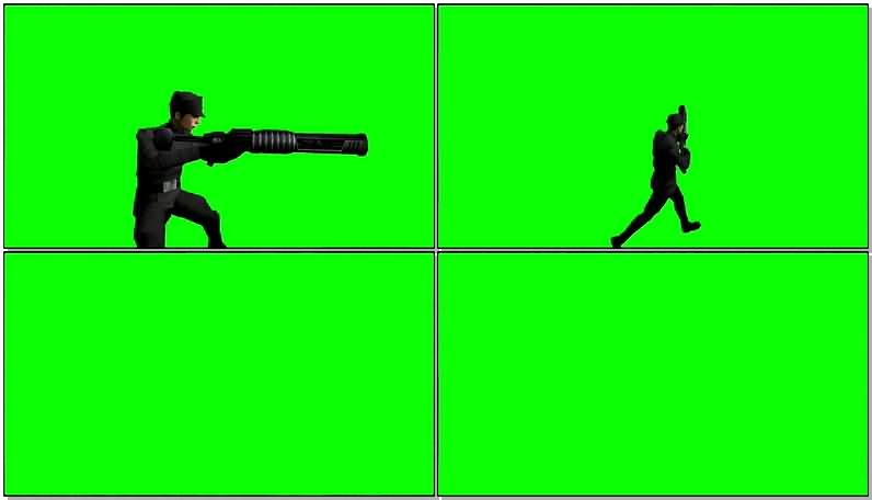 绿屏抠像开枪战斗的士兵视频素材