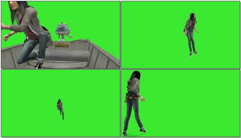 绿屏抠像划船的女探险家.jpg