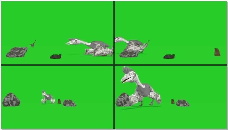 绿屏抠像爬行的鸭嘴龙恐龙.jpg